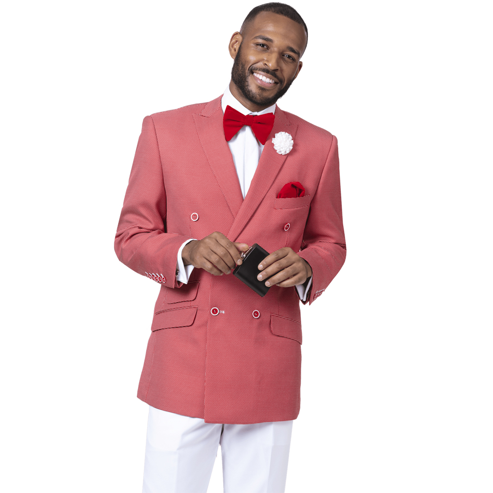 EJ Samuel Men's Slim Fit Double Breasted Red Fashion Suit