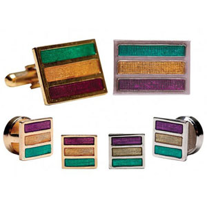 Mardi Gras Rectangle Tuxedo Cufflinks and Studs Silver or Gold