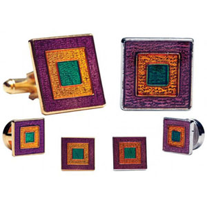 Mardi Gras Square Tuxedo Cufflinks and Studs Gold or Silver