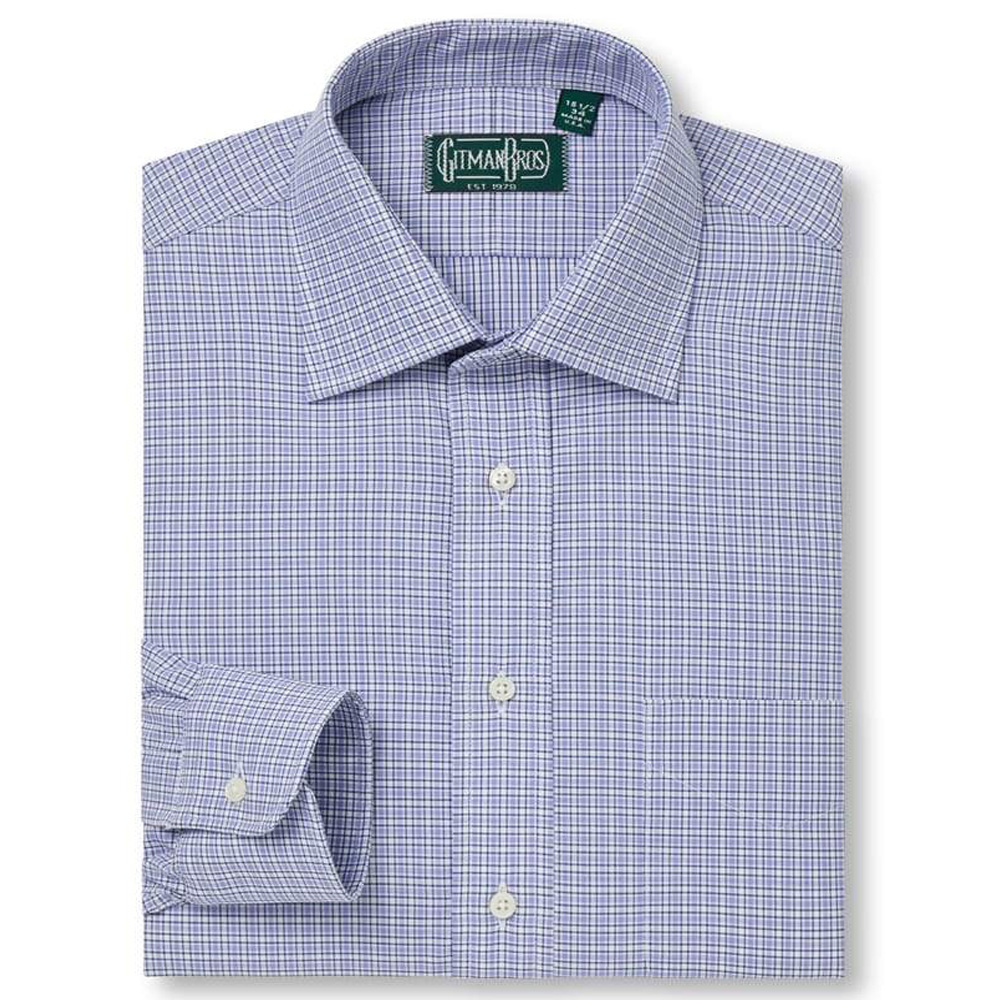 Gitman Medium Spread Compact Blue Border Check Dress Shirt