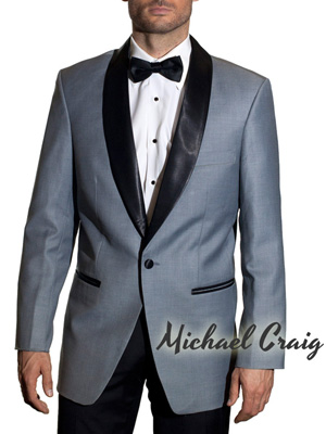 Grey and Black Skyfall Tuxedo with Black Pants by Michael Craig