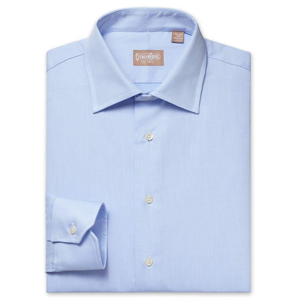 Gitman Medium Spread Mini Twill Blue Dress Shirt
