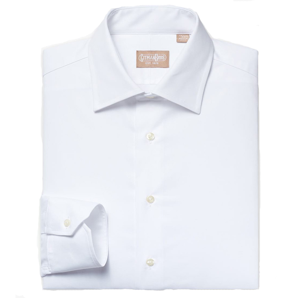 Gitman Medium Spread Mini Twill White Dress Shirt