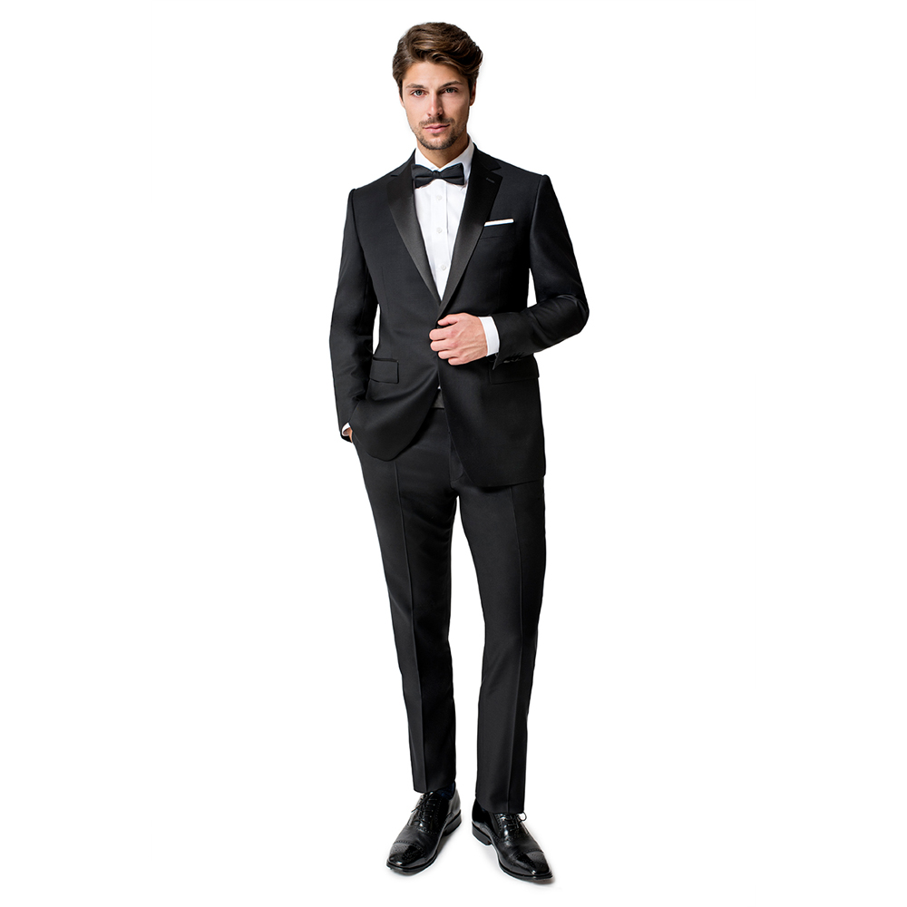 Paul Betenly Black Classic Fit One Button Notch Tuxedo