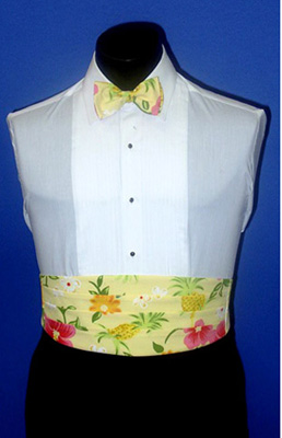 Tropical Pineapple Yellow Cummerbund and Bow Tie Set