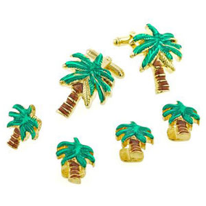 Gold Palm Trees Cufflinks and Studs