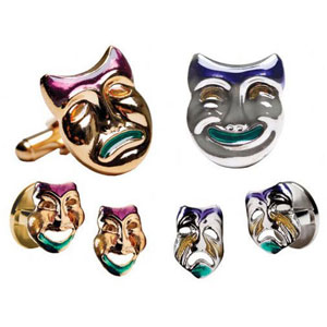 Mardi Gras Comedy/Tragedy Cufflinks and Studs Silver or Gold