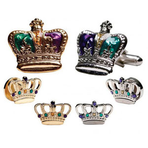 Mardi Gras Colored Crown Cufflinks and Studs Silver or Gold