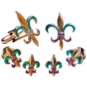 Mardi Gras Colored Fluer De Lis Tuxedo Cufflinks and Studs Gold