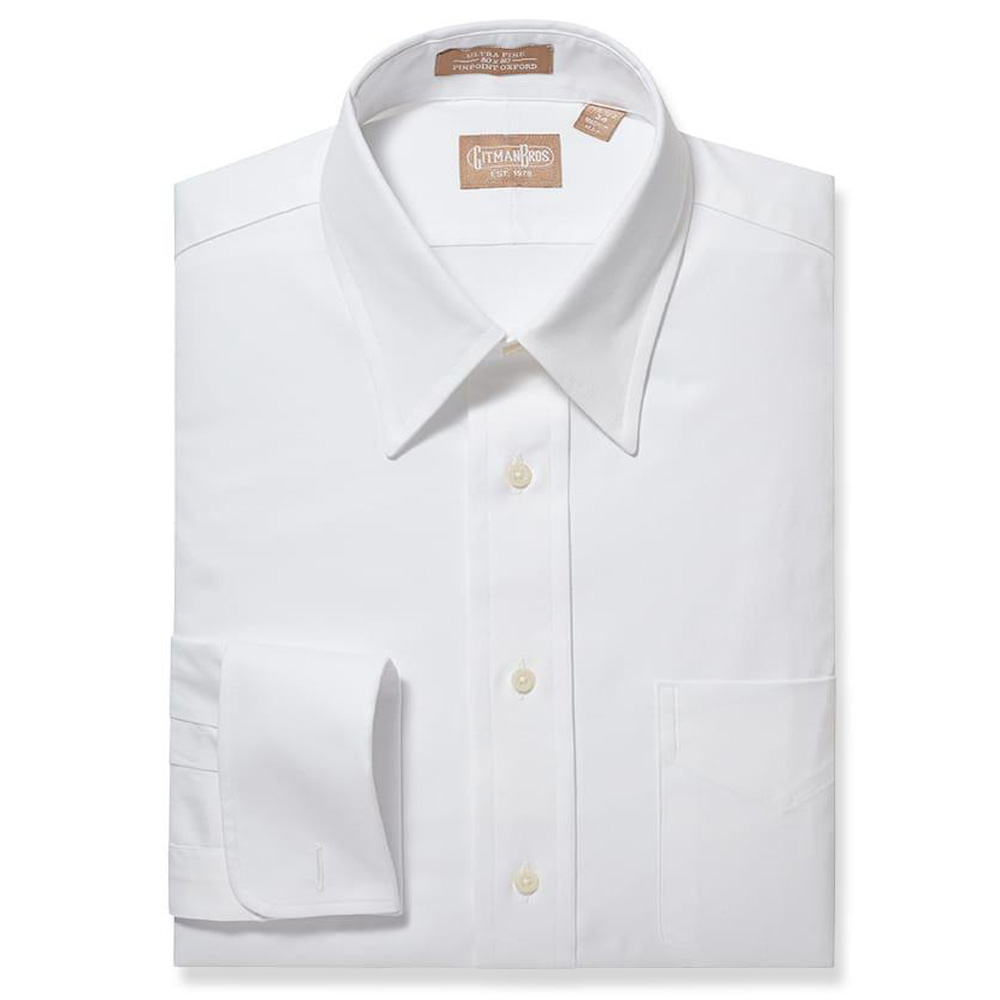 Gitman Point Collar Pinpoint White French Cuff Dress Shirt