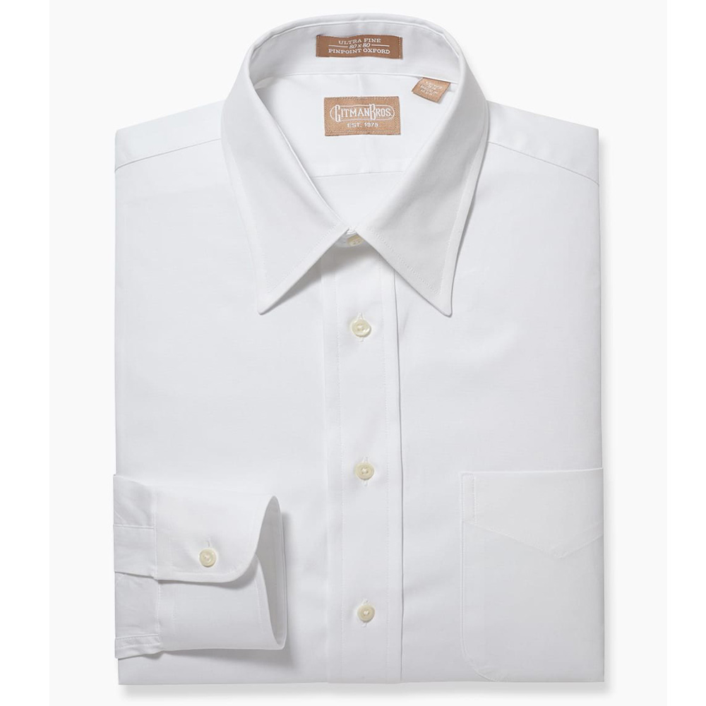 Gitman Point Collar Pinpoint White Dress Shirt
