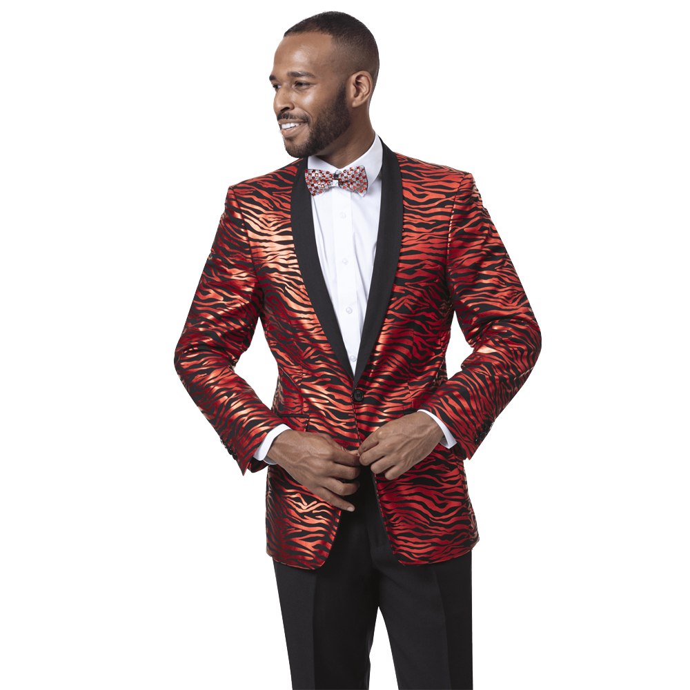 EJ Samuel Slim Fit Animal Print Red and Black Fashion Suit