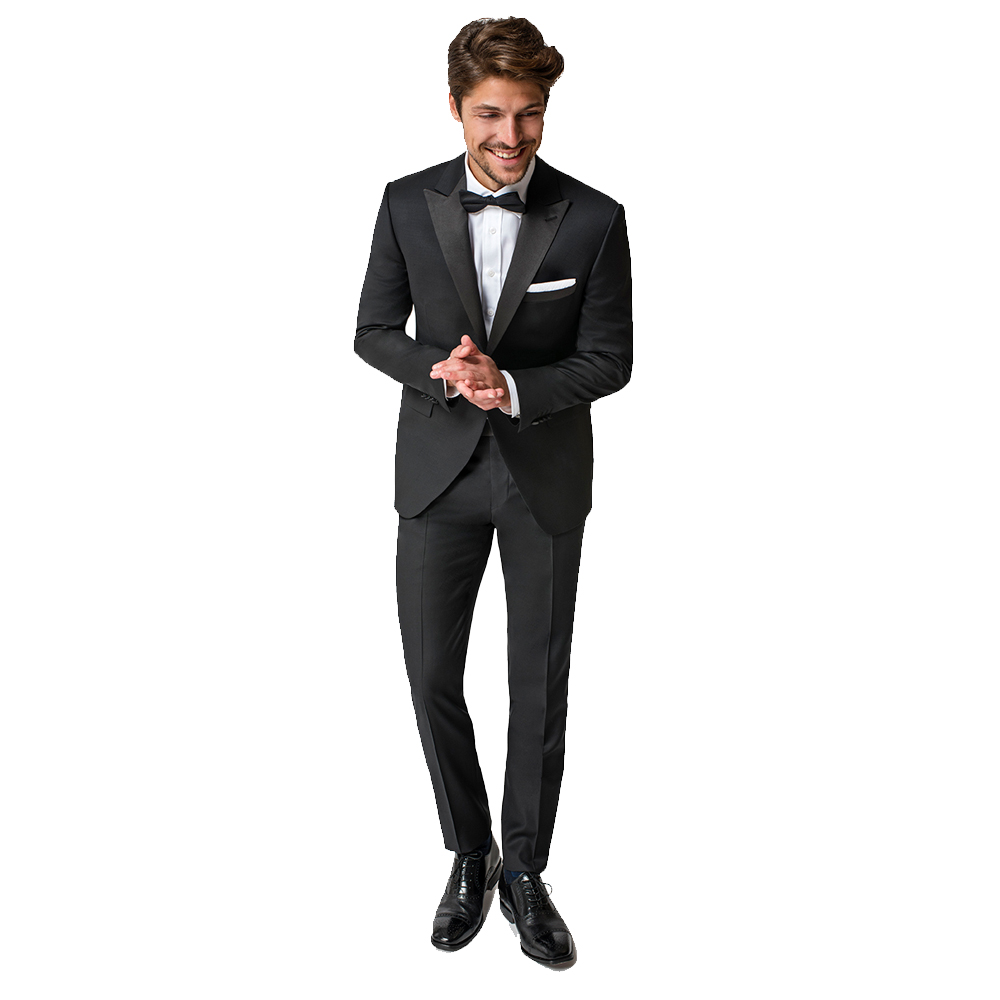 Paul Betenly Black One Button Peak Lapel Trim Fit Tuxedo