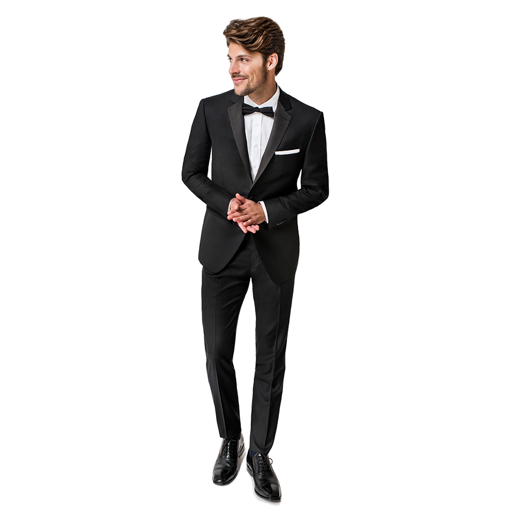 Paul Betenly Black Two Button Notch Trim Fit Tuxedo - Click Image to Close