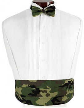 Army and Hunters Camouflage Cummerbund and Bow Tie Set