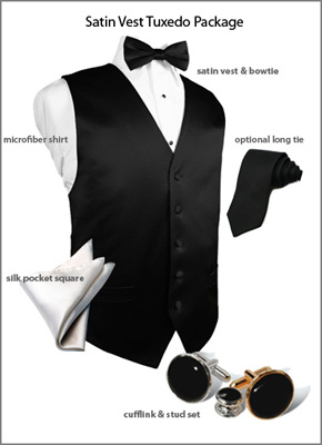 Satin Vest Tuxedo Accessory Package