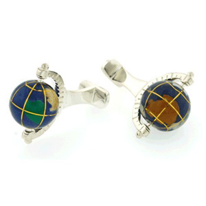 Sterling Silver Spinning Globe Cufflinks