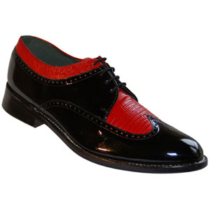 Black and Red Wing Tip Tuxedo Shoes