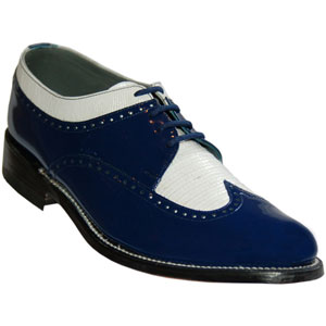 Royal Blue And White Wing Tip Tuxedo Shoes