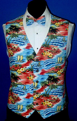 Sunset Coral Tropical Island Tuxedo Vest