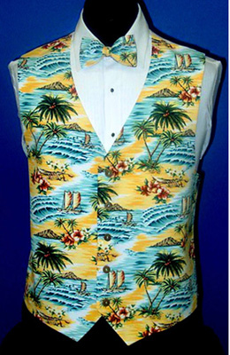 Sunrise Yellow Tropical Island Tuxedo Vest