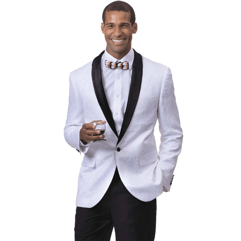 EJ Samuel Men's Slim Fit White Paisley Blazer with Velvet Lapel