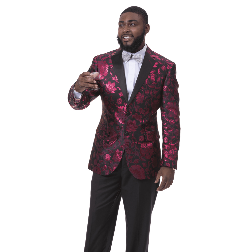 EJ Samuel Men's Slim Fit Wine Floral Print Blazer