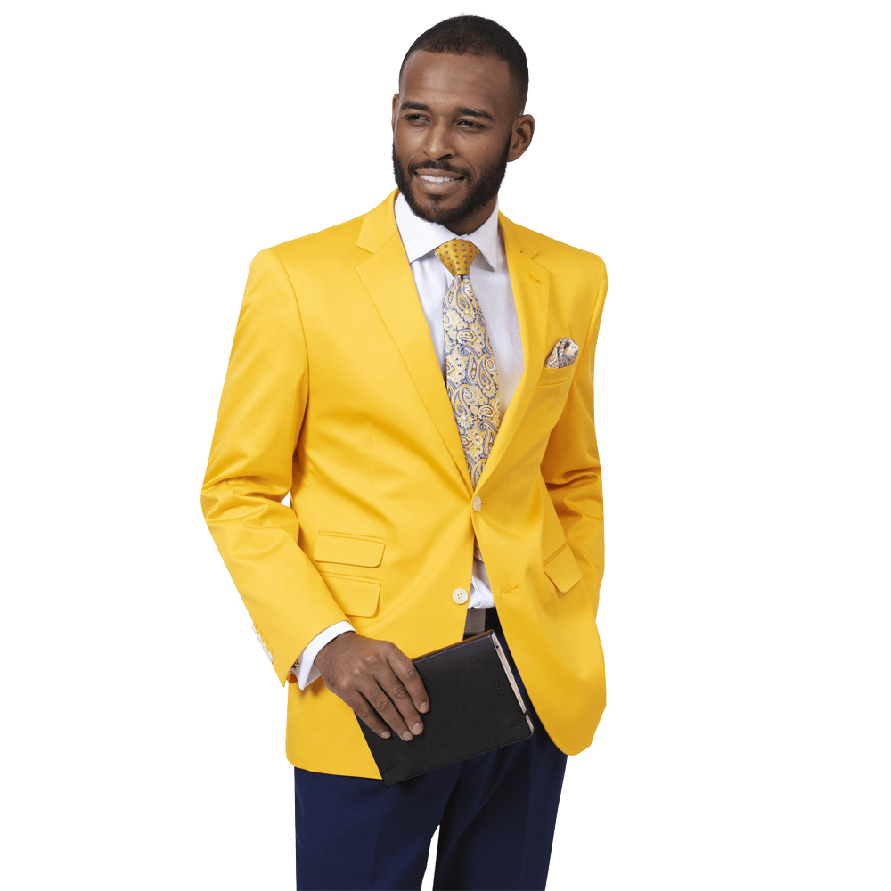 EJ Samuel Men's Slim Fit Bright Gold Fashion Blazer